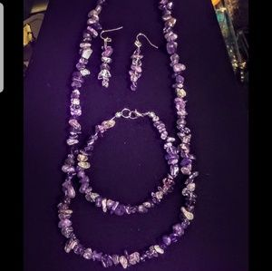 Jewelry - Raw Amethyst nugget necklace,earrings and bracelet